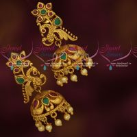 Ruby Emerald AD Jhumka Earrings Matte Gold Plated Jewellery Online