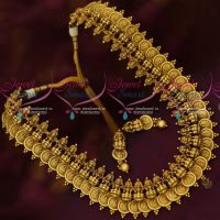 Traditional Temple Jewellery Laxmi God Engraved Medium Haram Antique Gold Plated Latest Designs