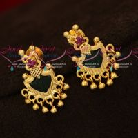 Kerala Style Green Palakka Earrings Golden Bead Drops Screwback South Indian