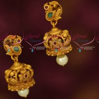 Small Size Peacock Jhumka Matte Reddish Gold Plated Jewellery Shop Online