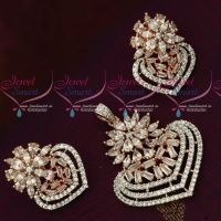 Rose Gold Plated American Diamond White Stones Pendant Set