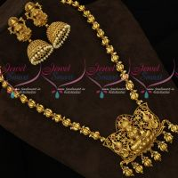 Temple Pendant Beads Mala Chain Haram Matching Jhumka Earrings 2 Layer Beads Gold Designs