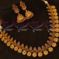 Intricately Designed Temple Jewellery Laxmi God Coin Engraved Short Necklace