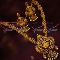 Matte Gold Plated Temple Jewellery Short Necklace Traditional South Indian Designs