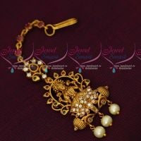 Temple Jewellery Matte Gold Plated Short Maang Tikka AD Stones Artificial Collections