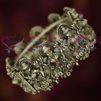 Silver Plated Oxidised Finish Single Piece Temple Nakshi Bangles Traditional Jewellery