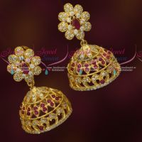 AD Ruby White Stones Jhumka Earrings Light Gold Finish Imitation Jewellery Online