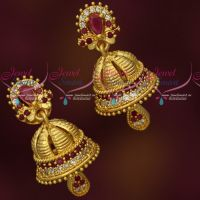 AD Ruby White Stones Small Size Beautiful Jhumka Earrings Online