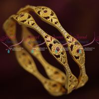Stylish Design Daily Wear AD Bangles Ruby White Stones Latest Jewellery Online