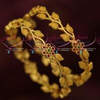 Leaf Design Broad Micron Gold Covering AD Stones Jewellery Latest Design Online