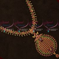 Simple Design AD Ruby Emerald Gold Covering Haram South Indian Jewellery