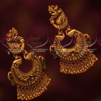 Real Kemp Stones Antique Peacock Chandbali Earrings Screwback Lock Online