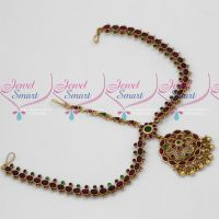 Kemp Red Green Stone Antique Dull Gold Plated Jewellery Bridal Maang Tikka Set MathaPatti