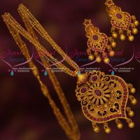 Multi Strand Thin Chain Reddish Gold Plated Pendant Earrings Ruby Stones