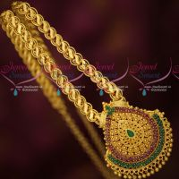 Fancy Gold Covering Broad Chain Pendant Daily Wear South Indian Designs Online