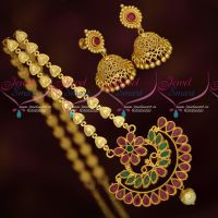 Fancy Long Chain Ruby Emerald Broad Pendant Screwback Jhumka Earrings South Indian Gold Covering Jewellery