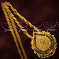 Daily Wear Gold Covering Chain Pendant Red Green Stones Traditional Jewellery