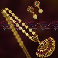 Gold Plated Jewellery Fancy Chain Attiga AD Stones Earstuds Screwback South Indian Designs