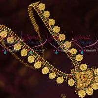 Gold Plated Coin Temple Haram Ruby Emerald AD Stones Jewellery Online