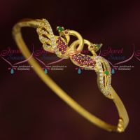 Gold Look AD Bracelet Latest Peacock Classic Jewellery Designs Online