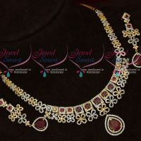 Latest Design Two Tone Gold Silver Plated AD Necklace set Shop Online