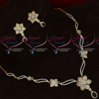 Blue White Thin Delicate Diamond Design Imitation Jewellery Short Necklace Set
