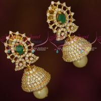 AD Emerald Green Stones Fancy Jhumka Earrings Latest Imitation Jewellery Online