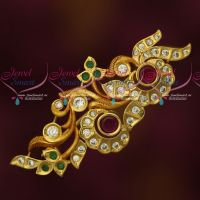 Floral Design Multi Color Reddish Gold Plated AD Stones Matching Saree Brooches Shop Online