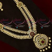 AD Stones Double Layer Jewellery Long Necklace Bridal Fancy Designs Imitation Online