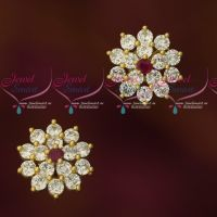 Ruby White American Diamond Thin Open Screw Ear Studs Latest Jewellery Online