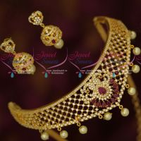 AD Sparkling Gold Plated Jewellery Small Choker Necklace Lowest Prices Online