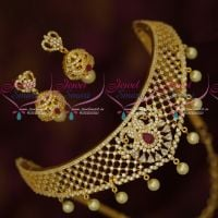 Gold Plated American Diamond Jewellery Set Dazzling Choker Necklace Low Price
