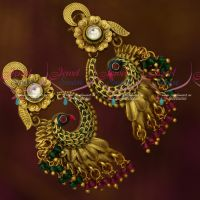 Antique Stylish Trendy Ear Rings Crystal Drops Enamel Meenakari Colour