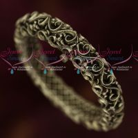Broad Intricate Silver Oxidised Antique Single Piece Screw Open Kada