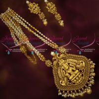 Pearl Golden Beads Mala Big Temple Pendant Antique Gold Plated Jewellery Designs Online
