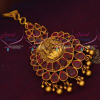 Ruby Matte Gold Reddish Plated Short Maang Tikka Temple Artificial Jewellery
