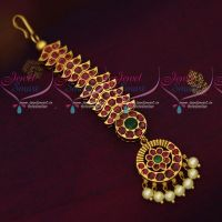 Traditional Design Nethichutti Maang Tikka AD Ruby Emerald Stones Antique Jewellery