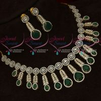 AD Emerald Green White Stones Two Tone Gold Silver Plated Diamond Finish Jewellery Set