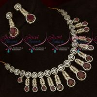 AD Ruby White Stones Two Tone Gold Silver Plated Diamond Finish Jewellery Set