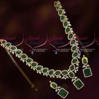 Emerald Green CZ White Stones Latest Fashion Jewellery Short Necklace Set Online