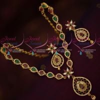 Gold Covering AD Ruby Emerald Necklace South Indian Jewellery Designs Online