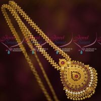 South Indian Jewellery Gold Covering Ruby White Stones Daily Wear Chain Pendant Online
