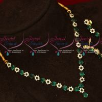 Green Color Simple Design Low Price American Diamond Necklace Set Shop Online