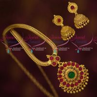 South Indian Imitation Jewellery Gold Plated Chain Pendant Jhumka Kemp Stones