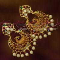 AD Kemp Stones Light Matte Gold Plated Kemp Chand Bali Peacock Earrings Online