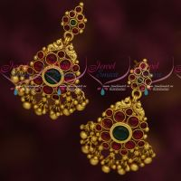 Kemp Stones Traditional Design Peacock Earrings Latest Antique Imitation Jewellery Online