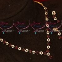 Maroon Color Simple Design Low Price American Diamond Necklace Set Shop Online