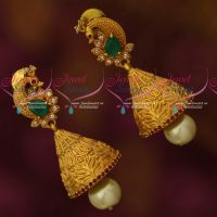 AD Stones Matte Reddish Dull Finish Peacock Jhumka Earrings Bell Shaped Jewellery