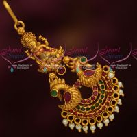 Temple Jewellery Matte Gold Reddish Plated Short Maang Tikka AD Stones Artificial Collections