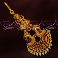 Ruby Temple Jewellery Matte Gold Reddish Plated Short Maang Tikka Artificial Collections